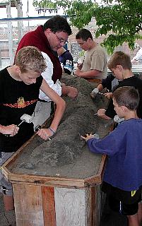 Students excavating at the DinoDig