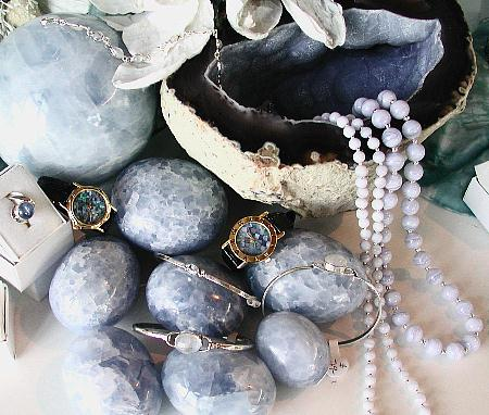 African blue lace agate, Indian moonstone, Australian opal